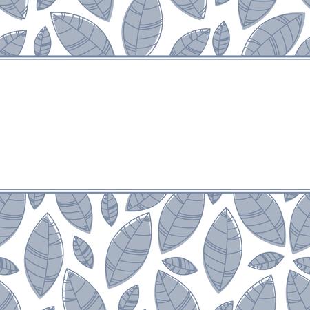 Monochrome horizontal leaves frame. Ornament for print, card wallpaper