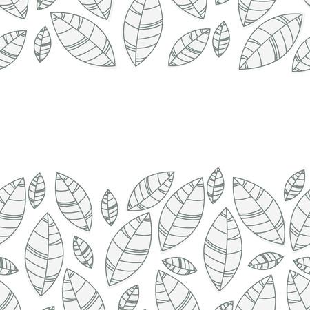 Horizontal leaves frame. Ornament for print, card, wallpaper, banner