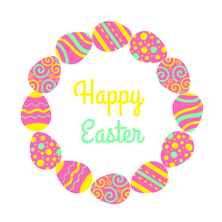 Round Happy Easter freme with eggs and lettering. Greeting vector card