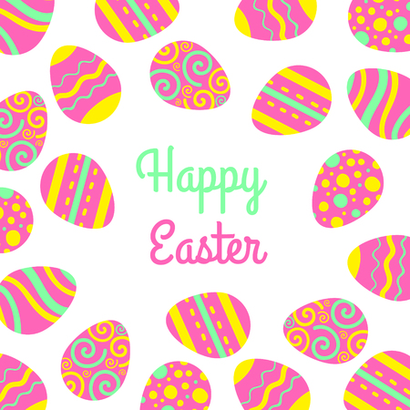 Vector Happy Easter freme with eggs and lettering. Greeting vector card