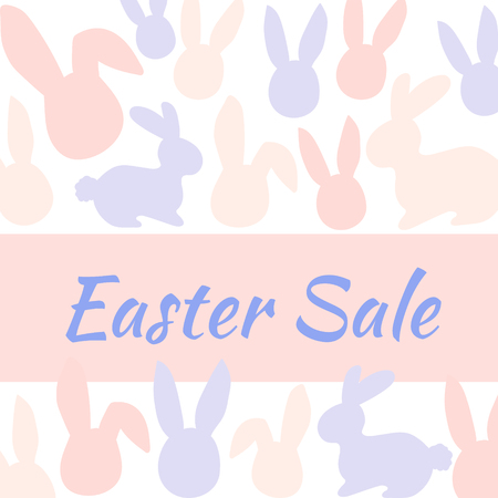 Special Easter sale banner with pink and blue rabbit. Vector illustration.
