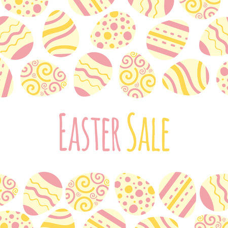 Easter sale vector frame. Background illustration with eggs and lettering. Illustration