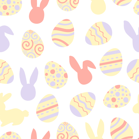 Illustration of pastel bunnis and eggs with patterns