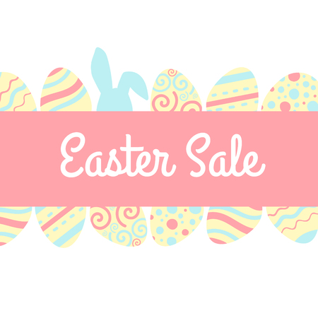 Easter sale banner with pink and blue rabbits and eggs.