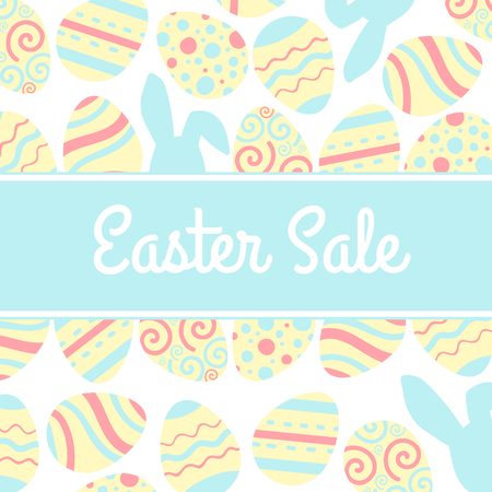 Illustration of special Easter sale banner with pink egg and rabbit