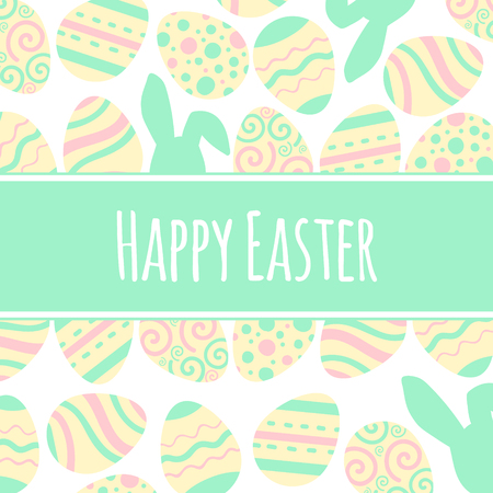Pastel greeting vector card. Happy Easter freme with eggs and lettering.