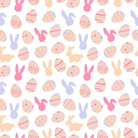 Pink pattern of easter bunny. Egg hunt illustration for flyer, design, scrapbooking, poster, banner, web element Standard-Bild