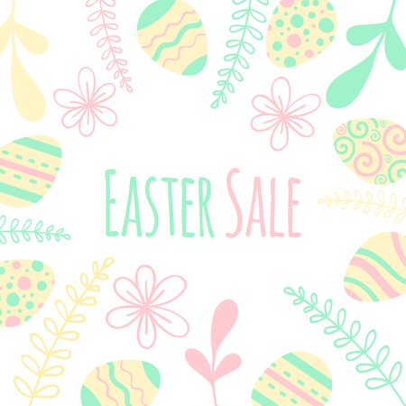Easter sale banner with patterned eggs and flowers.
