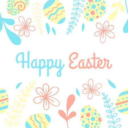 Bright Easter vector card. Frame with eggs and flower