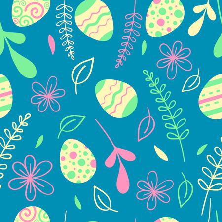 Easter seamless pattern with flowers. Egg hunt vector illustration. Illustration