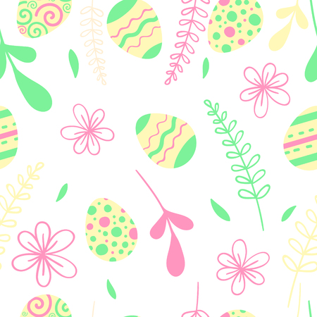 Egg hunt vector illustration. Easter seamless pattern with flowers.