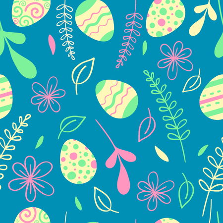 Easter seamless pattern with flowers. Egg hunt vector illustration