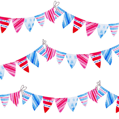 Watercolor Bunting Flags. Celebration of American Independence Day