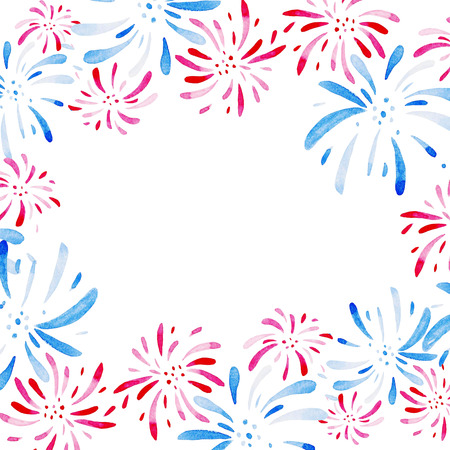 Watercolor frame for Fireworks festival. Holidays, 4th of July, United Stated independence day. Design for print, card, banner