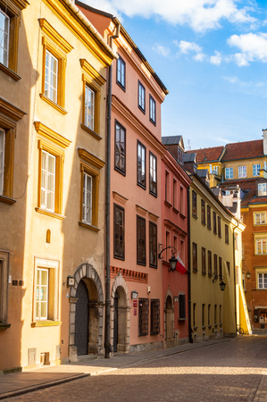 Building in old town of Warsaw. The travel destination of Poland. Standard-Bild