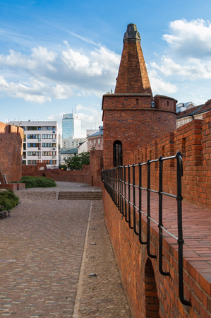 Tower in old city of Warsaw. Summer travel destination of Poland.