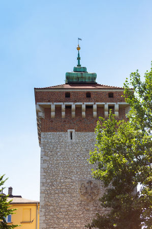 Krakow in summer. Tower in old town