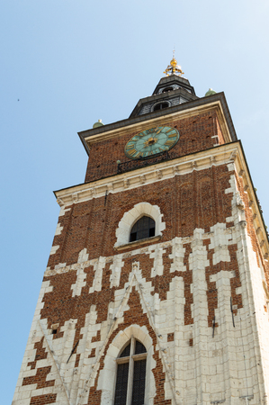 Old architecture. Tower in old town Krakow Standard-Bild