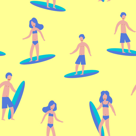 Seamless yellow pattern of Surfers for print