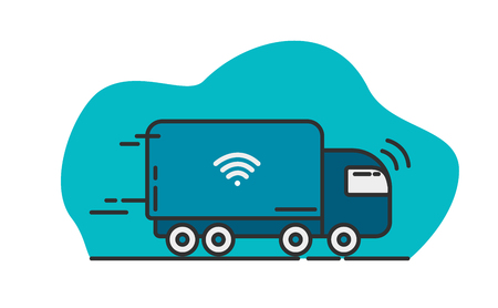 Blue self-driving truck - Future technology of transport. Vector line and flat illustration.