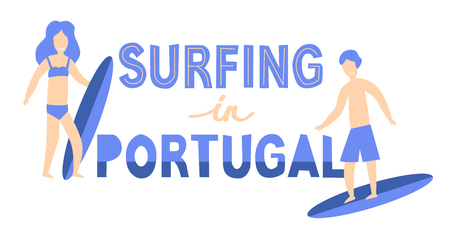 Banner of surfers with surfboards in Portugal. Vector lettering illustration