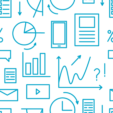 Seamless pattern overload information concept. Line elements - task, graphic, list Illustration