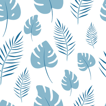 Seamless pattern of leaf palm vector. Jungle background for print