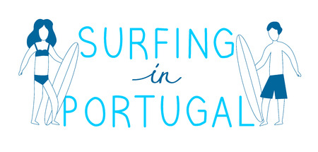 Line blue surfers with surfboards with lettering in Portugal. Vector illustration