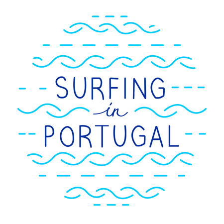 Round line vector lettering. Surfing in Portugal Illustration