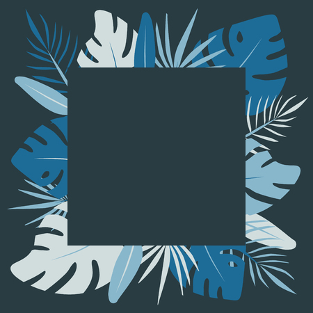 Square blue tropic leaves. Exotic flat vector Illustration