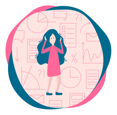 Overload information concept. Woman and a lot of information, graphics. Flat vector Illustration