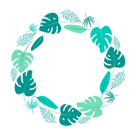 Bright green tropical leaves round frame. Monstera flat illustration