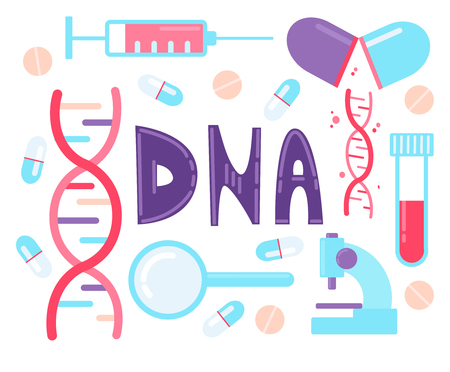 DNA test, Genome sequencing. Set of elements dna, syringe, magnifier, microscope and pills.
