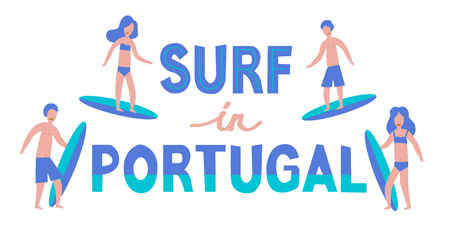 Vector lettering illustration. Banner of surfers with surfboards in Portugal