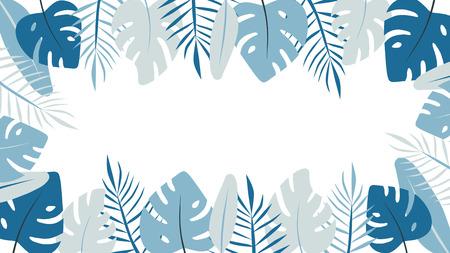 Light tropical leaves banner. Monstera flat illustration
