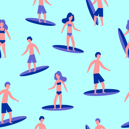 Vector illustration seamless flat pattern of Surfers for print.
