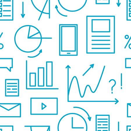 Seamless pattern overload information concept. Line elements - task, graphic, list Standard-Bild