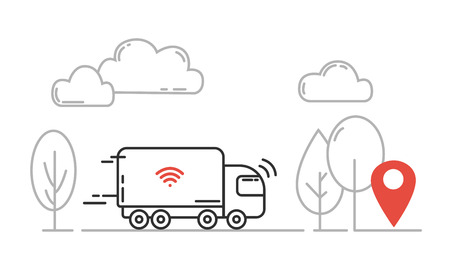 Autonomous transport - self driving truck moving by highway. Vector line illustration.