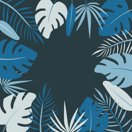 Floral round frame of leaf palm vector in flat style Standard-Bild