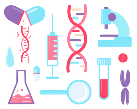 Genome sequencing - medical test. Set of elements dna, syringe, magnifier, microscope and pills. Standard-Bild