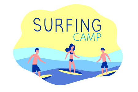 Surfing camp - active trip. Surfers with surfboards. Ocean, waves, sun and sea