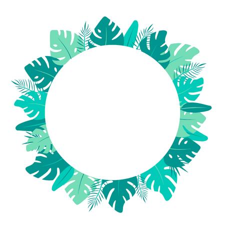 Monstera flat illustration. Bright green tropical leaves round frame Standard-Bild