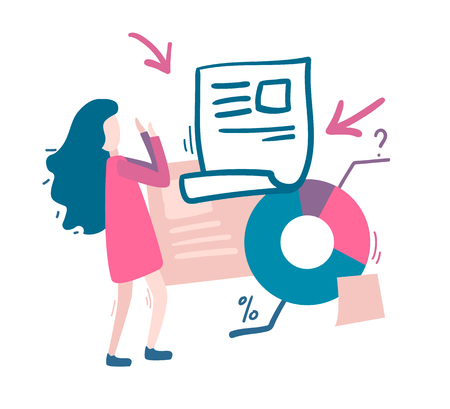 Woman and a lot of information, graphics. Overload information concept. Flat vector