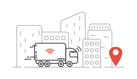 Self-driving truck - autonomous transport, cityscape, high skyscrapers. Vector line illustration. Standard-Bild