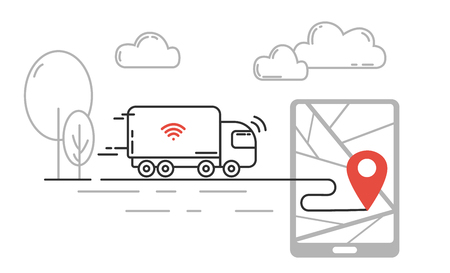 Future technology of transport - self driving truck moving by highway. Vector line illustration. Standard-Bild
