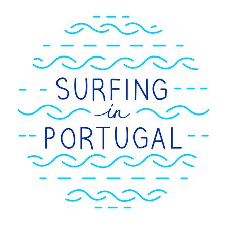 Round line vector lettering. Surfing in Portugal Standard-Bild
