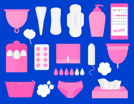 Woman hygiene products - tampon, menstrual cup, sanitary, pills. Vector flat big illustration set