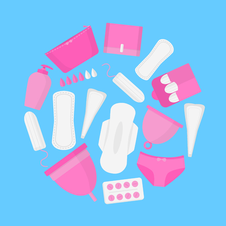 Round set female hygiene products in menstruation time. Vector flat