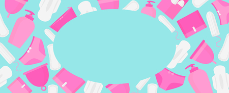 Round frame of menstruation time. Woman hygiene products - tampon, menstrual cup, sanitary Illustration