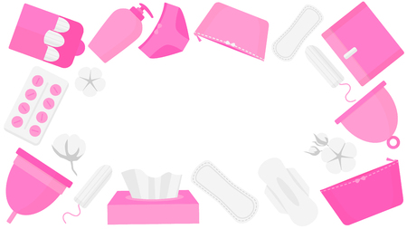 Woman hygiene products - tampon, menstrual cup, sanitary. Round frame of menstruation time Illustration